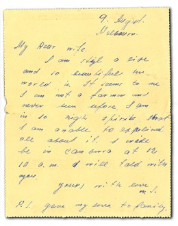 A letter to his wife saying he is not a farmer