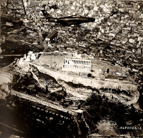 AKROPOLIS ATHENS (NOTICE THE AIRCRAFT / RF-84 / ABOVE THE AKROPOL)