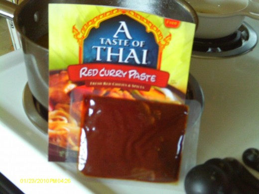 I use a prepackaged red curry paste