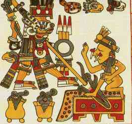A Maya representation of Venus, shown spearing the throne.