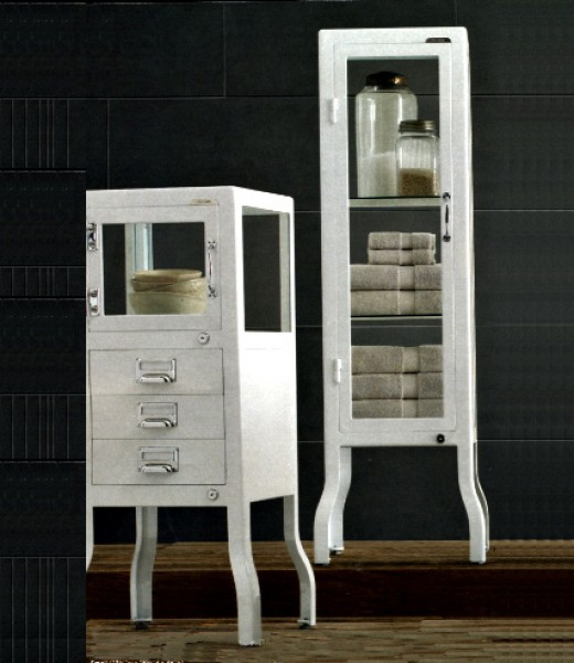 Two styles of reproduced glass-sided cabinets sold by Restoration Hardware. Left: with drawers, $995; right: $895.