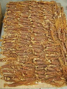 In this photo is red ginseng. It is said to be more powerful than regular ginseng.