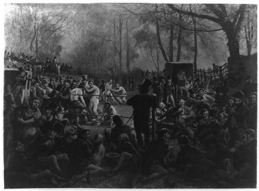 A painting shows Bendigo in one of his legendary clashes in the woods surrounded by dozens of supporters