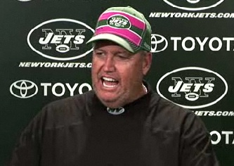 9/29/11 Coach Rex Ryan News Conference sporting his Crucial Catch Cap
