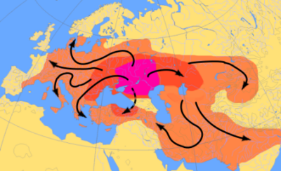 Spread of Aryans from Eastern Europe