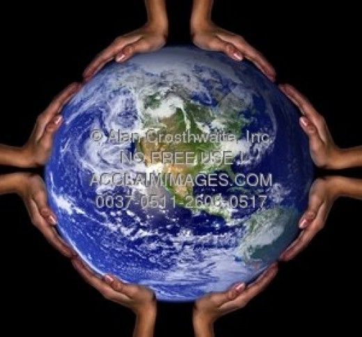 Stock Photo Description: Stock image of hands holding the earth portray cooperation and peace on earth. Composite photo. Earth image courtesy of NASA satellite imagery available on public domain.