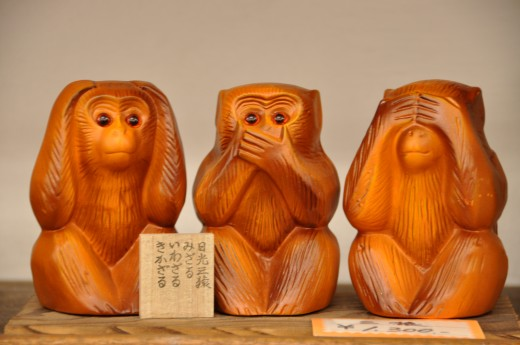 "Your senses filters behave like those monkeys - don't see, hear or speak what they were told is ""evil""."