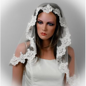 Mantilla, shoulder length bridal veil