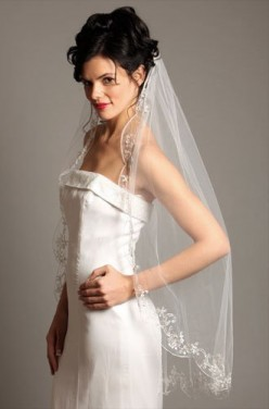 Wedding Bridal Veil, Pearl Beaded & Lace, 1 Layer