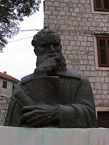Petar Hektorović's statue located on the island of Hvar in Central Dalmatia.