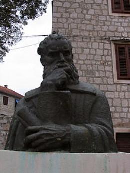 Petar Hektorović's statue located on the island of Hvar in Central Dalmatia.