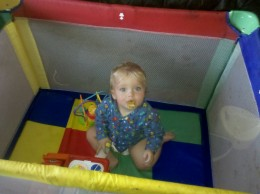Jason loves his playpen so much that he screams the house down when you try to take him out of it