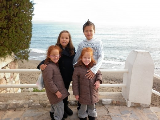 My kids at Calahonda Beach, in Mijas costa