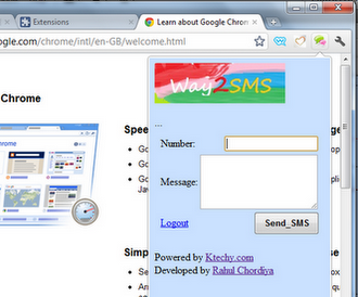 Way2SMS Extension for Google Chrome to Send Free SMS in India