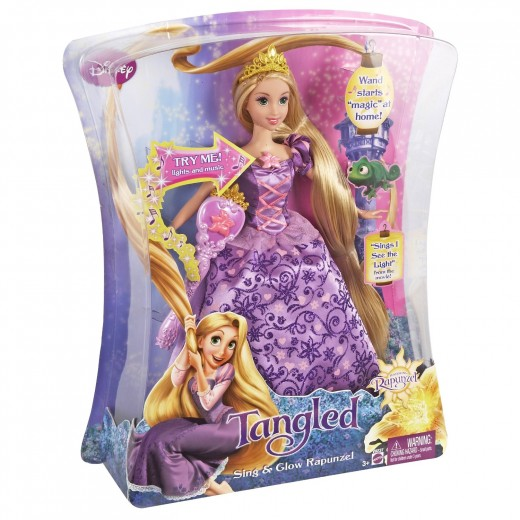 Rapunzel Sing and GLow Light Up Rapunzel Doll packaged in a royally beautiful box