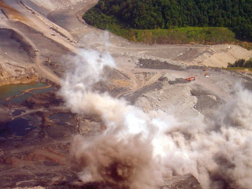 Mountaintop removal explosive blast in Eunice, W.V. 7 July 2004.