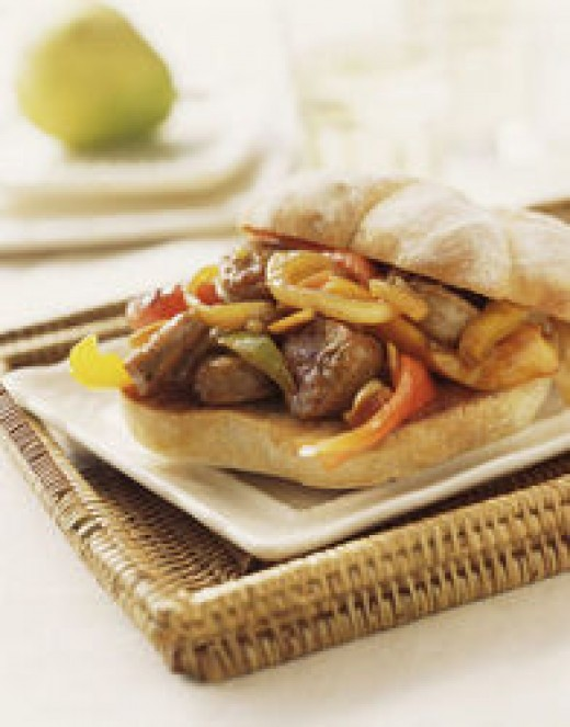 This is the famous San Gennaro Sausage & Peppers Sandwich from the recipe only ever served in Naples & NYC's Little Italy.