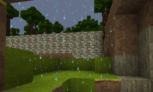 The best minecraft rain ever. It's like shiny diamond water.