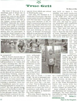 My Church ran an article in our parish newsletter about my half marathon race and the training.