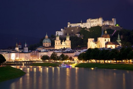 Beautiful Salzburg, Austria nestled  at the base of the Tyrolean Alps.