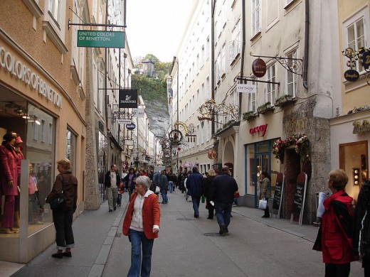 Getreidegasse, the main street for shopping  and business in Old Town, Salzburg in Austria, and another scene location from the movie.