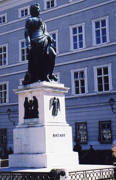 Statue of Wolfgang Mozart who was born in  Salzburg, Austria.