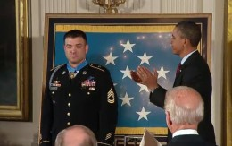 Sergeant Leroy Petry receiving CMOH from President Obama in July 2011