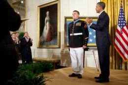 Marine Corporal Dakota Meyer receiving CMOH from President Obama in September 2011