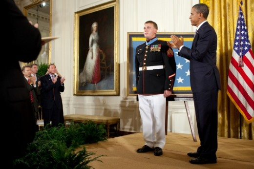 Marine Corporal Dakota Meyer receiving CMOH from President Obama in September 2011