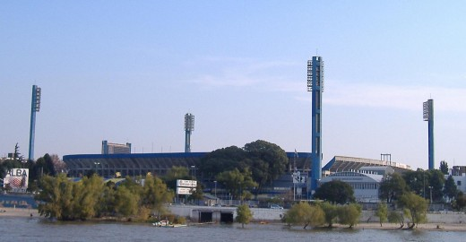 Estadio Gigante de Arroyito, a football stadium belonging to the Rosario Central football (soccer) club in Rosario, Argentina. Viewed from a boat on the Paraná River.