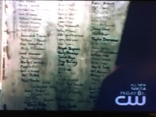 Elena finds Stefan's record of his victims.