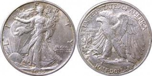 Silver               .90 Cop-Nic          .10 Diameter      30.6 mm 1916-1947