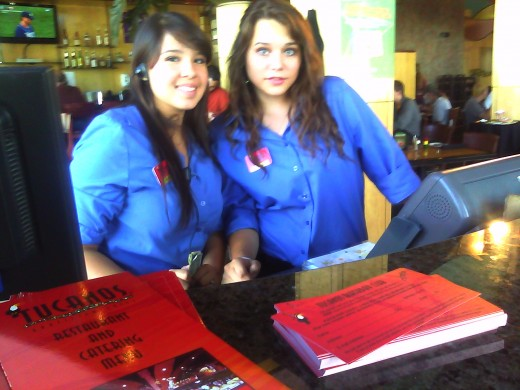 Two beautiful young ladies of the wait staff, at Tucanos, Albuquerque, NM