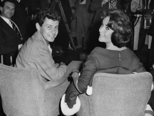 TWO HOLLYWOOD LEGENDS, (FROM LEFT), EDDIE FISHER AND LIZ TAYLOR, BOTH WERE CO-STARS ON THEIR WAY TO STARDOM.