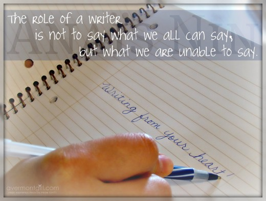 The role of a writer . . .