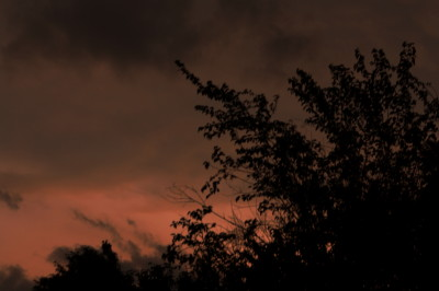 The Sun starting to set, the heavy black clouds starting to build up,