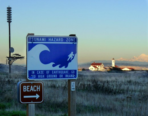 A tsunami warning siren and a hazard sign next to a beach vulnerable to tidal waves