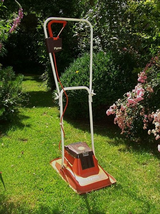 A Flymo lawn mower.