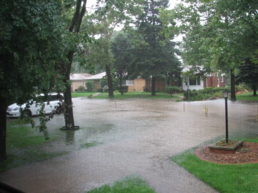 The driveway is flooding and we have no idea how much time we have before we are forced to flee.