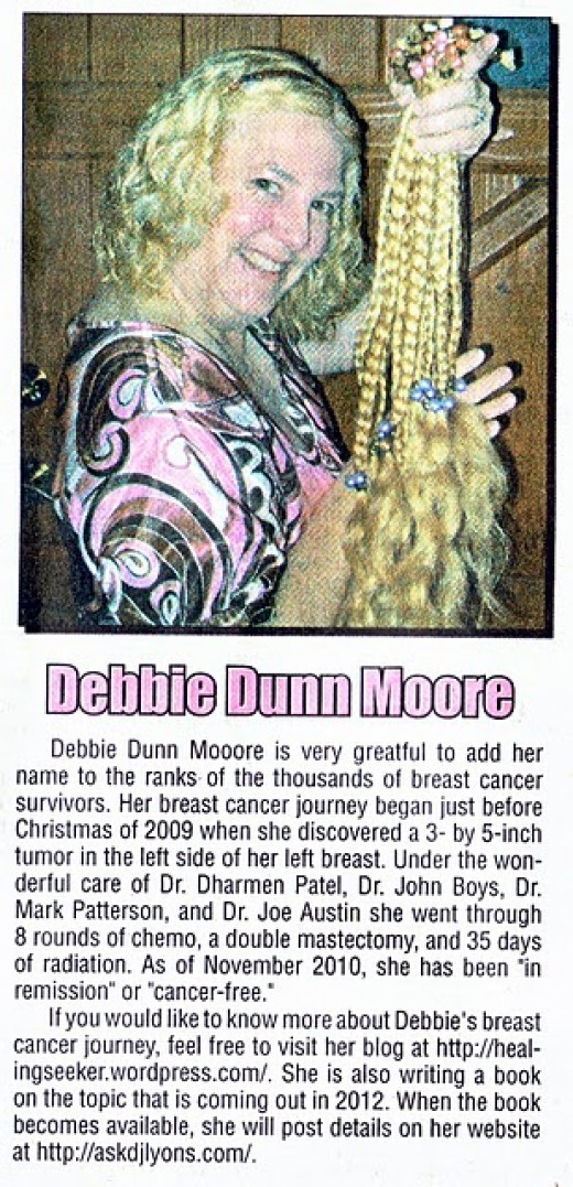 Debbie Dunn Moore is a grateful Breast Cancer Survivor. This is a picture I mailed them.