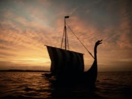 The sail is lowered as Hunding's ship 'Braendings Slange' draws forward to new shores for the night