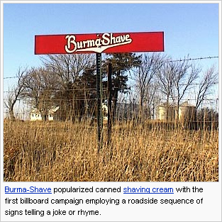 """They always ended with this sign.. """"Burma Shave"""""""