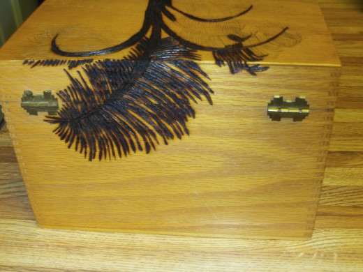 I have completed wood burning the frond on the back of the box.