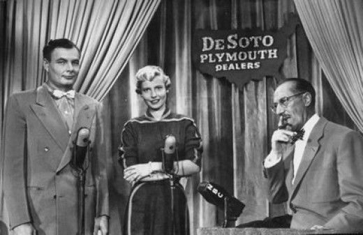 A still from the show You Bet Your Life hosted by Groucho Marx