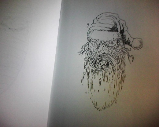How to draw Santa Claus Zombie head. Art by Wayne Tully