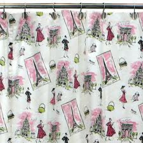 A Pink and Black Shower Curtain