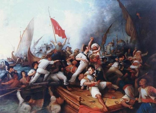 The Muslim Barbary Pirate's threatening America's early merchant fleet and capturing thousands of American sailors.