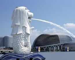 Merlion Statue of Singapore.  A logo of Singapore Tourism Promotion Board which adjacent to One Fullerton Building.