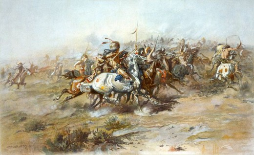 """The Custer Fight"" by Charles Marion Russell. 1903."