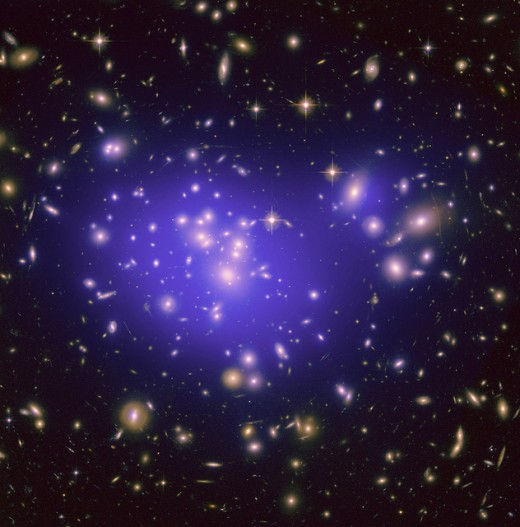 "Galaxy Cluster Abell 1689 NASA Goddard ""appearance of these distorted galaxies depends on the distribution of matter in the lens and on the relative geometry of the lens and the distant galaxies, as well as on the effect of dark energy..."""
